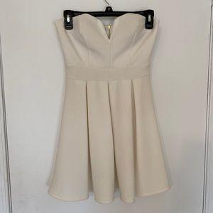 White/Cream Skater Strapless Dress